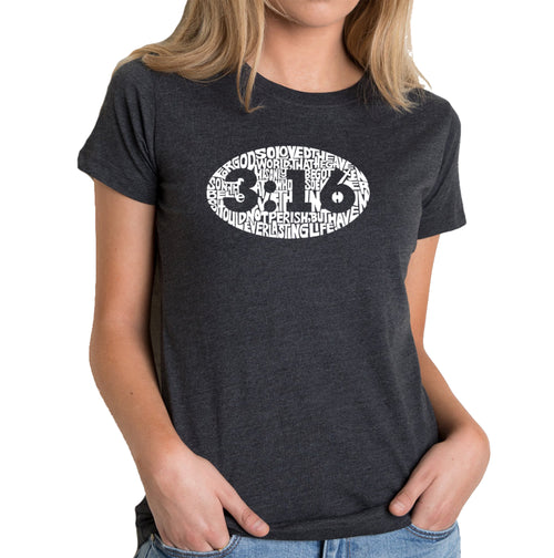 Women's Premium Blend Word Art T-shirt - John 3:16