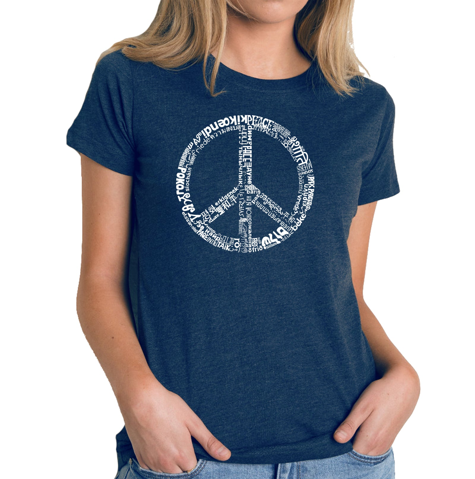 Women's Premium Blend Word Art T-shirt - THE WORD PEACE IN 77 LANGUAGES