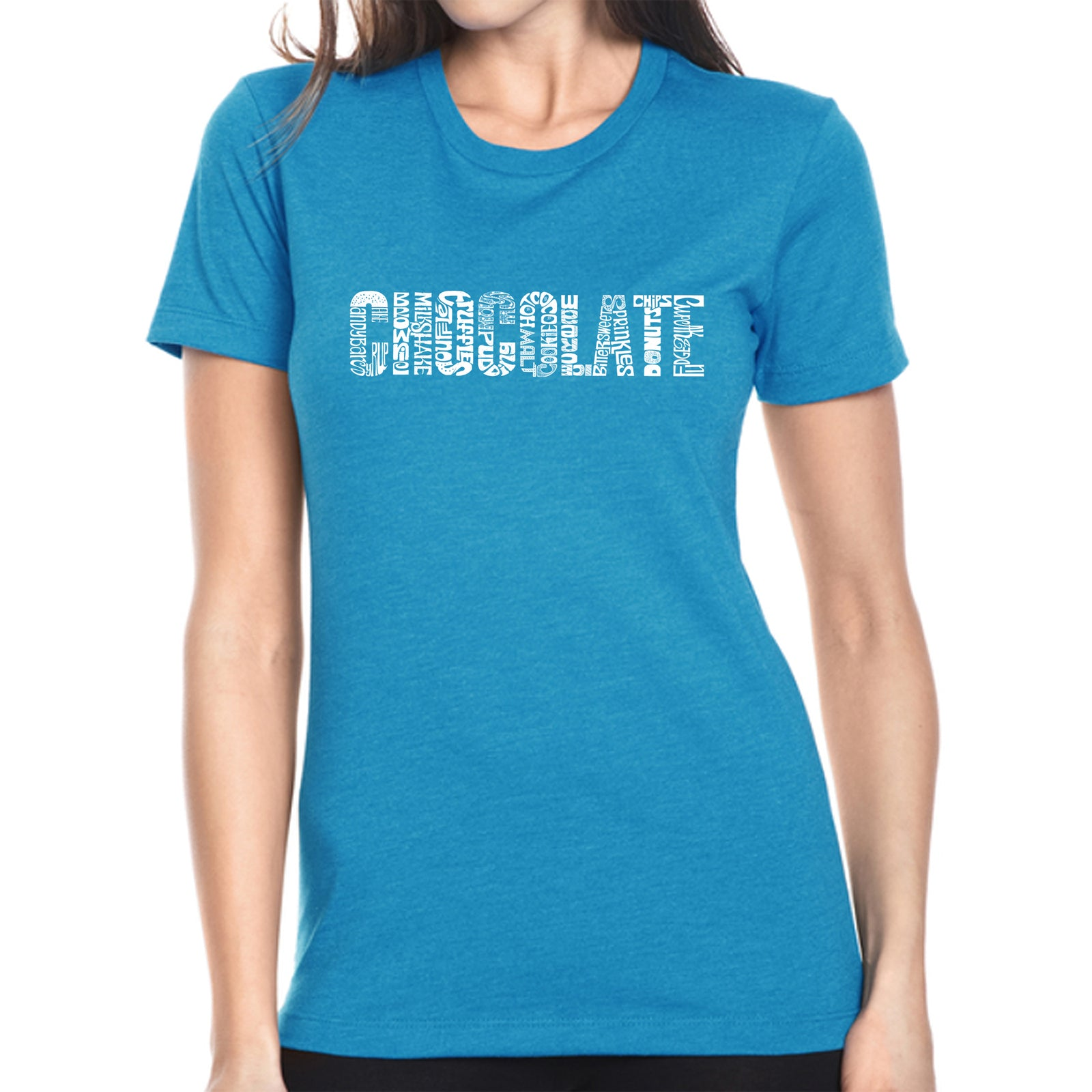 Women's Premium Blend Word Art T-shirt - Different foods made with chocolate