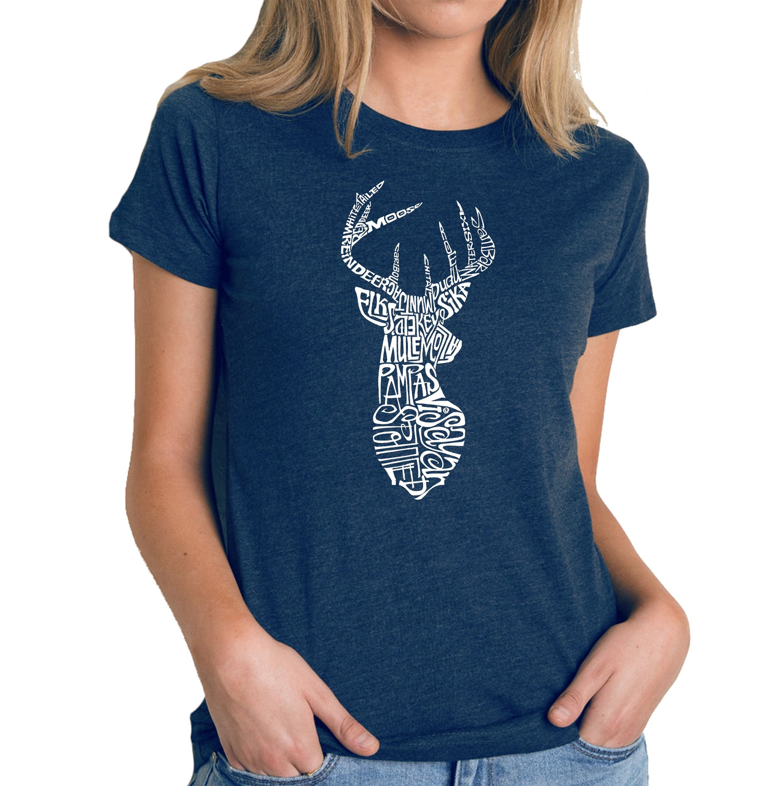 Women's Premium Blend Word Art T-shirt - Types of Deer