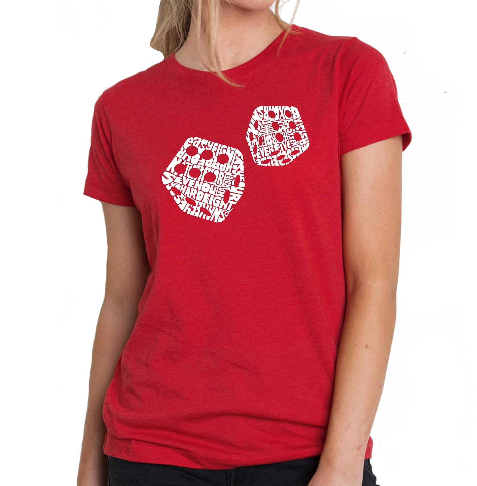 Women's Premium Blend Word Art T-shirt - DIFFERENT ROLLS THROWN IN THE GAME OF CRAPS