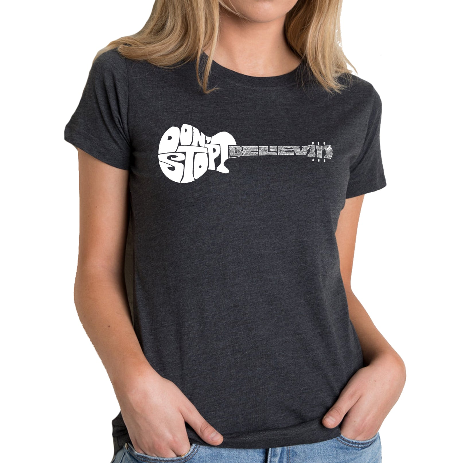 Women's Premium Blend Word Art T-shirt - Don't Stop Believin'