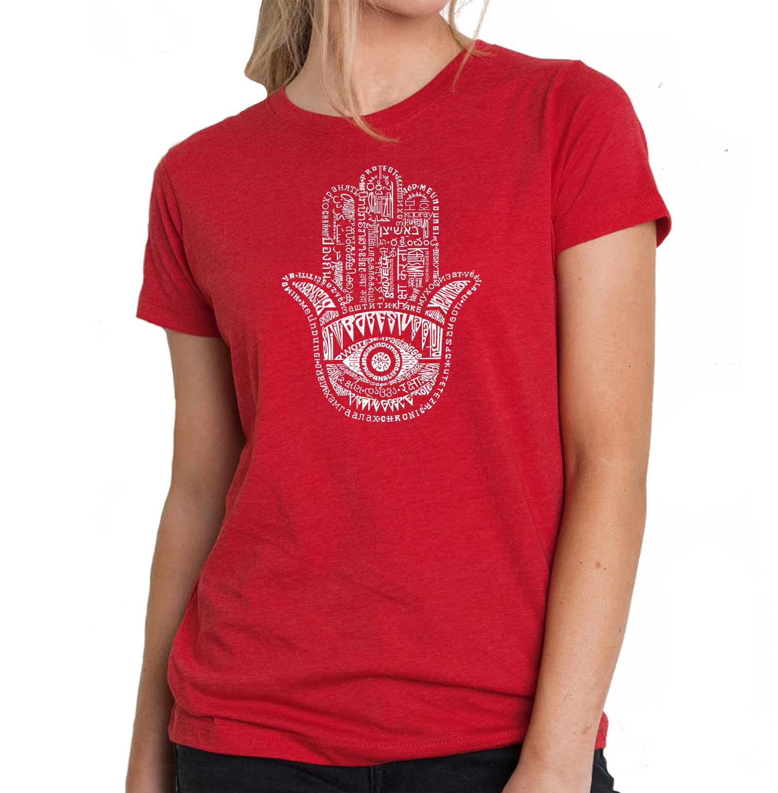 Women's Premium Blend Word Art T-shirt - Hamsa