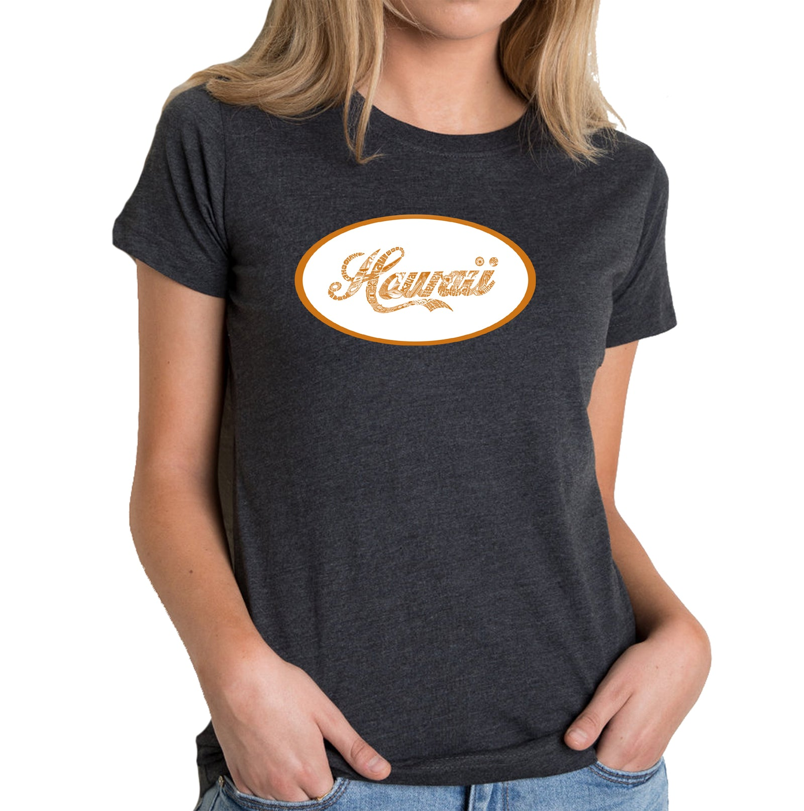 Women's Premium Blend Word Art T-shirt - HAWAIIAN ISLAND NAMES & IMAGERY
