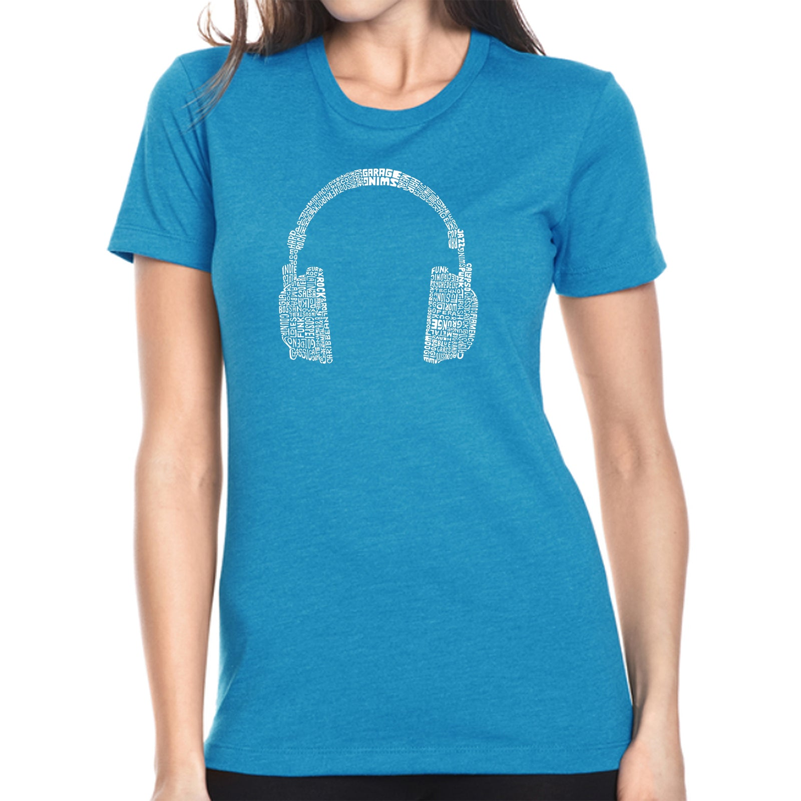 Women's Premium Blend Word Art T-shirt - 63 DIFFERENT GENRES OF MUSIC