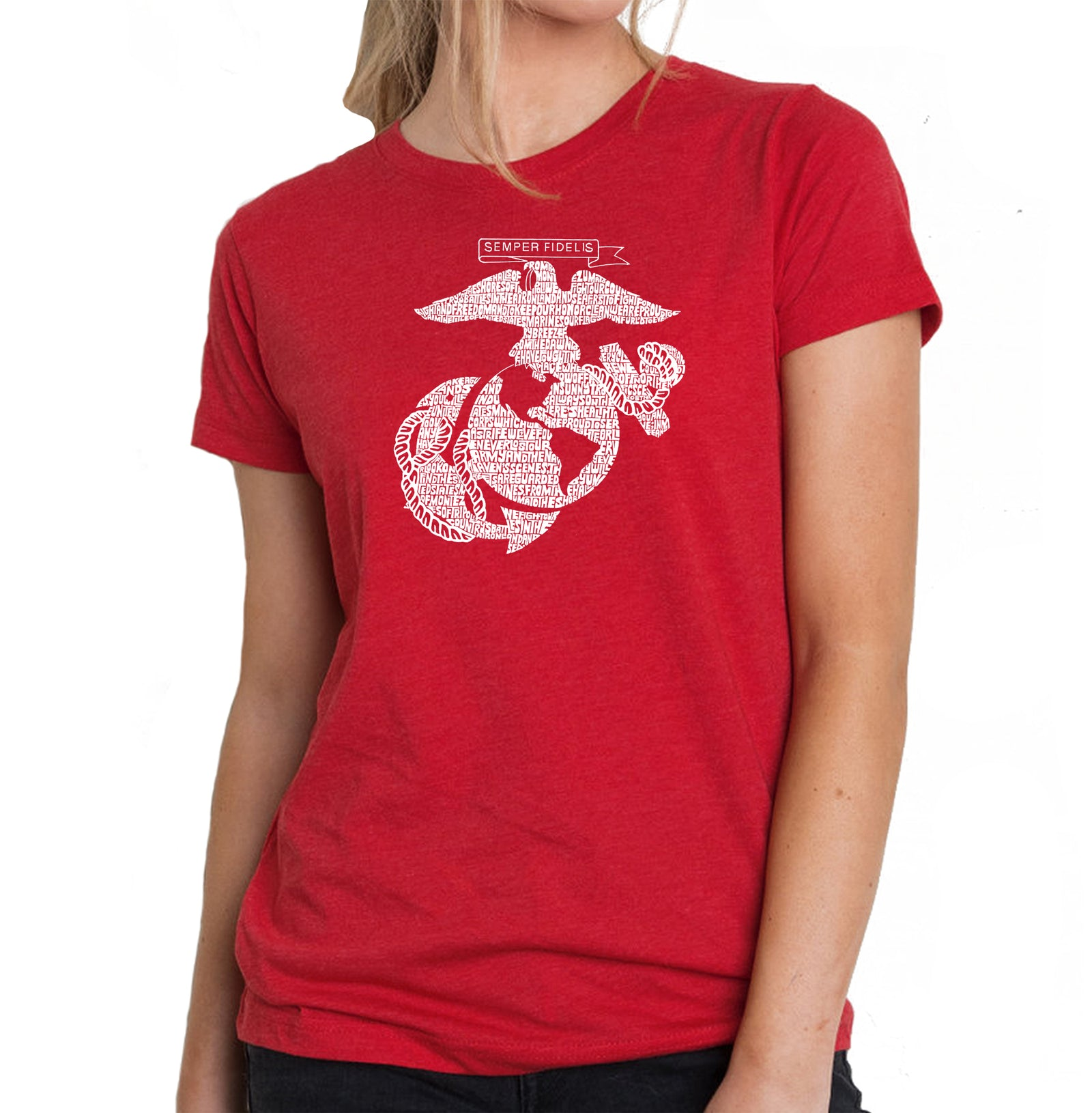 Women's Premium Blend Word Art T-shirt - LYRICS TO THE MARINES HYMN