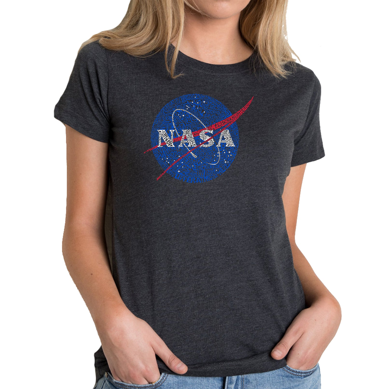 Women's Premium Blend Word Art T-shirt - NASA's Most Notable Missions