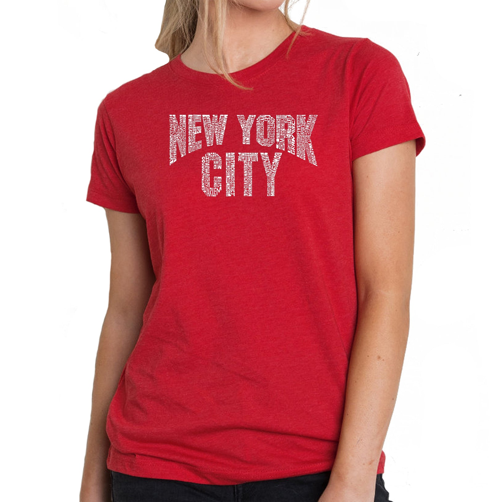 Women's Premium Blend Word Art T-shirt - NYC NEIGHBORHOODS