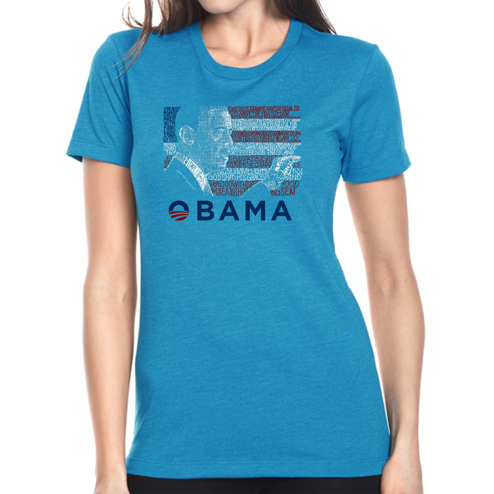 Women's Premium Blend Word Art T-shirt - BARACK OBAMA - ALL LYRICS TO AMERICA THE BEAUTIFUL