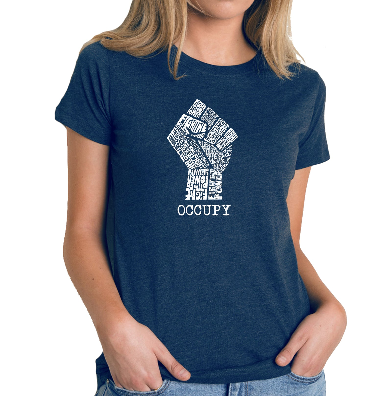 Women's Premium Blend Word Art T-shirt - OCCUPY WALL STREET - FIGHT THE POWER