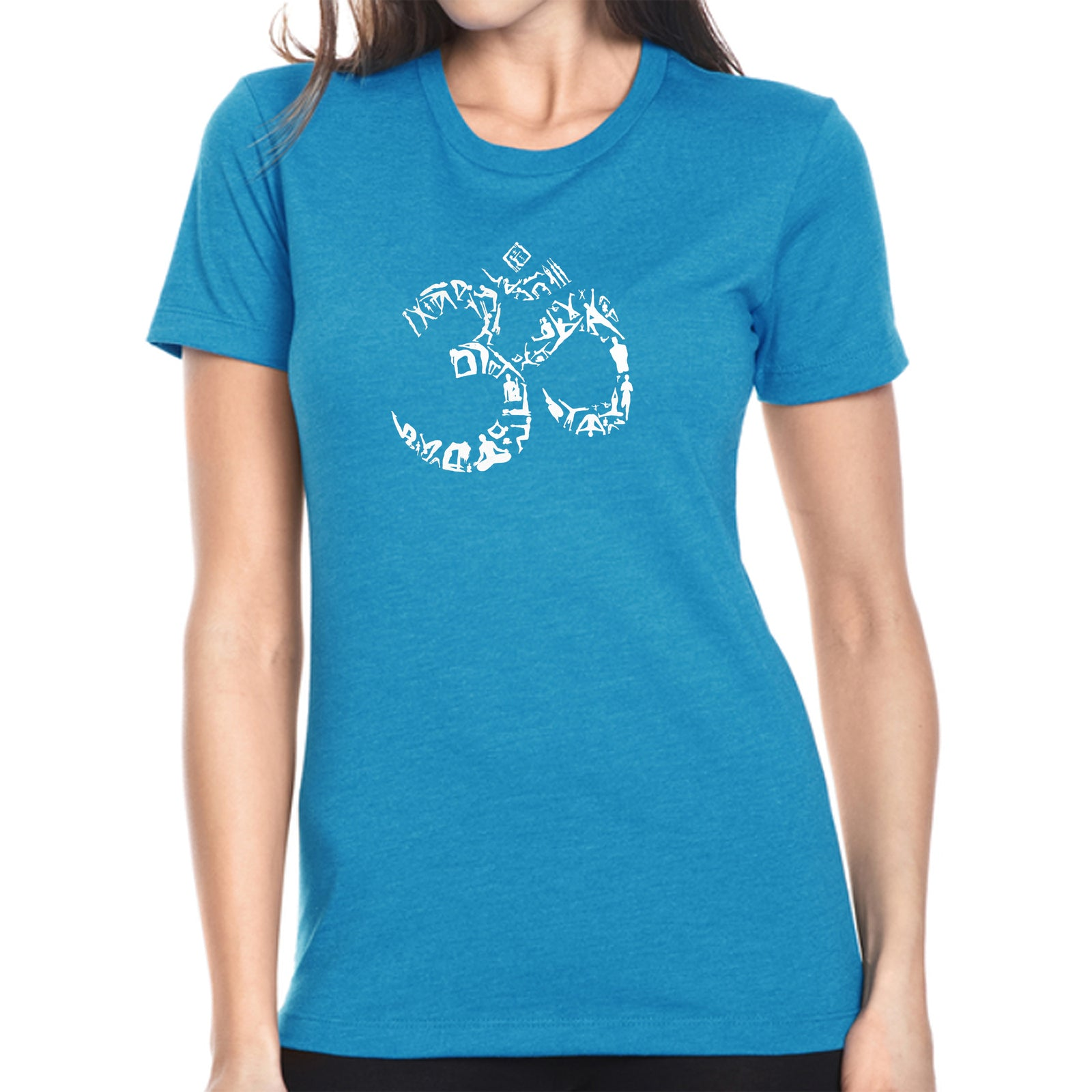 Women's Premium Blend Word Art T-shirt - THE OM SYMBOL OUT OF YOGA POSES