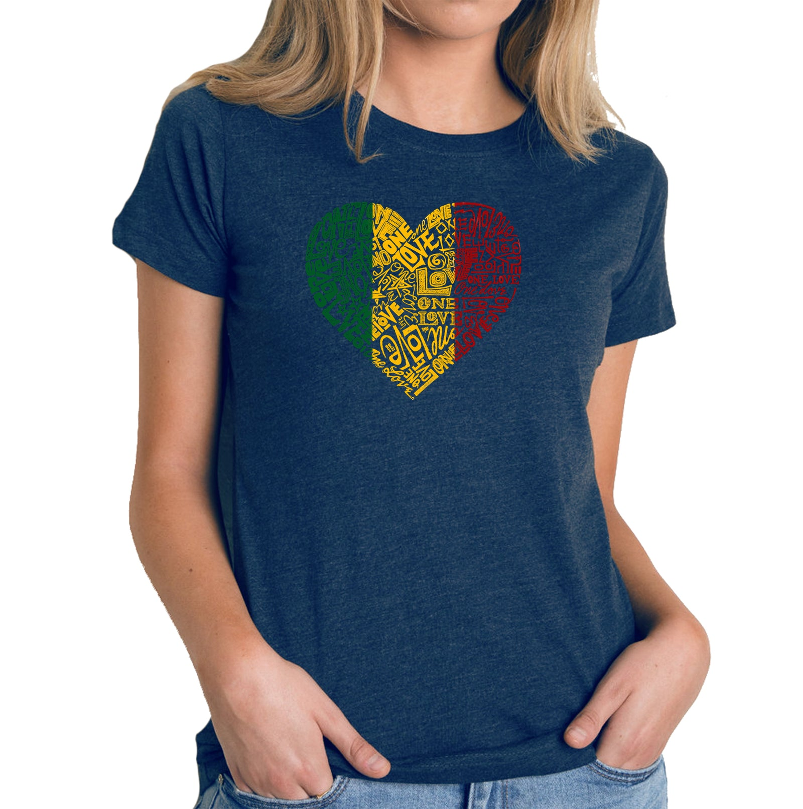 Women's Premium Blend Word Art T-shirt - One Love Heart