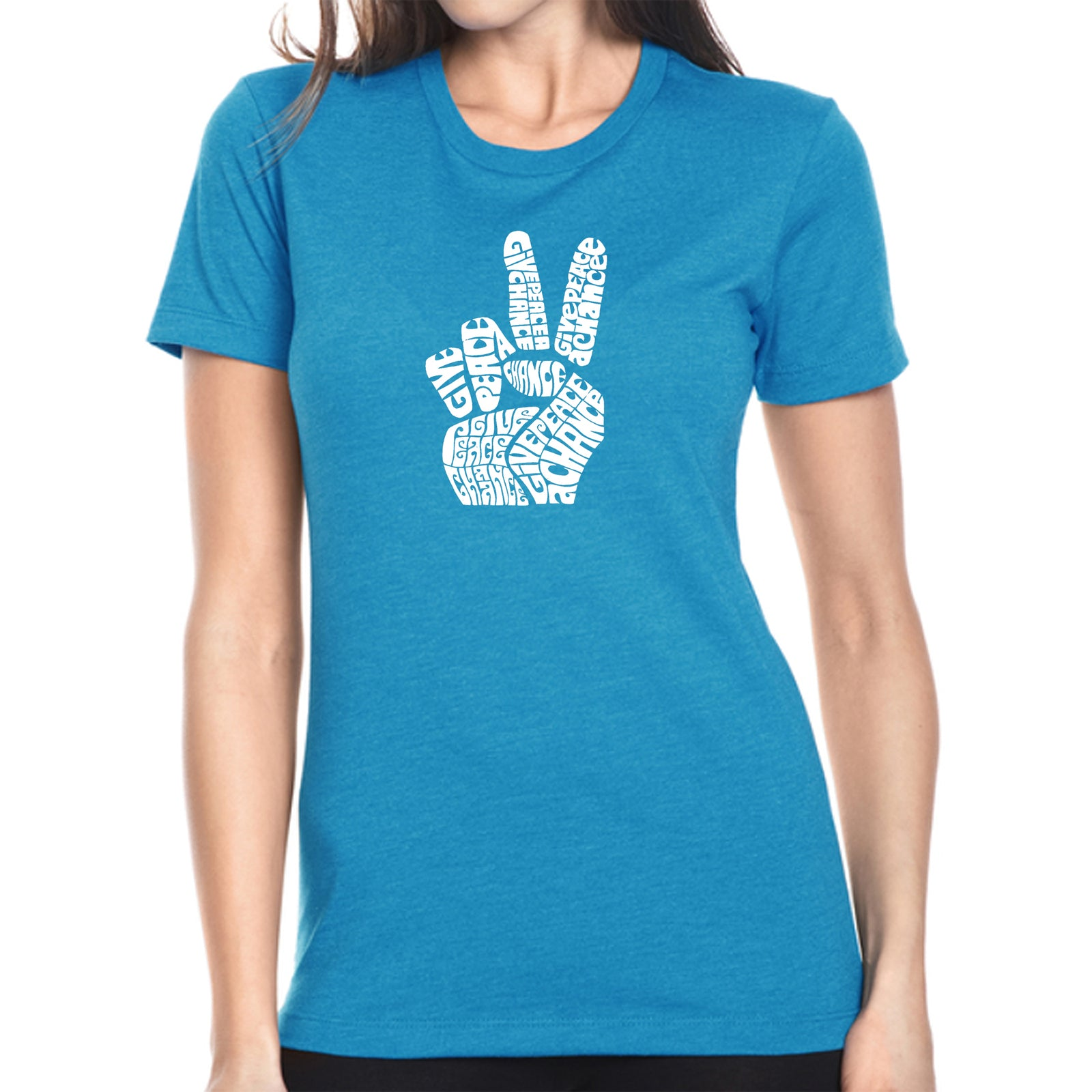 Women's Premium Blend Word Art T-shirt - PEACE FINGERS
