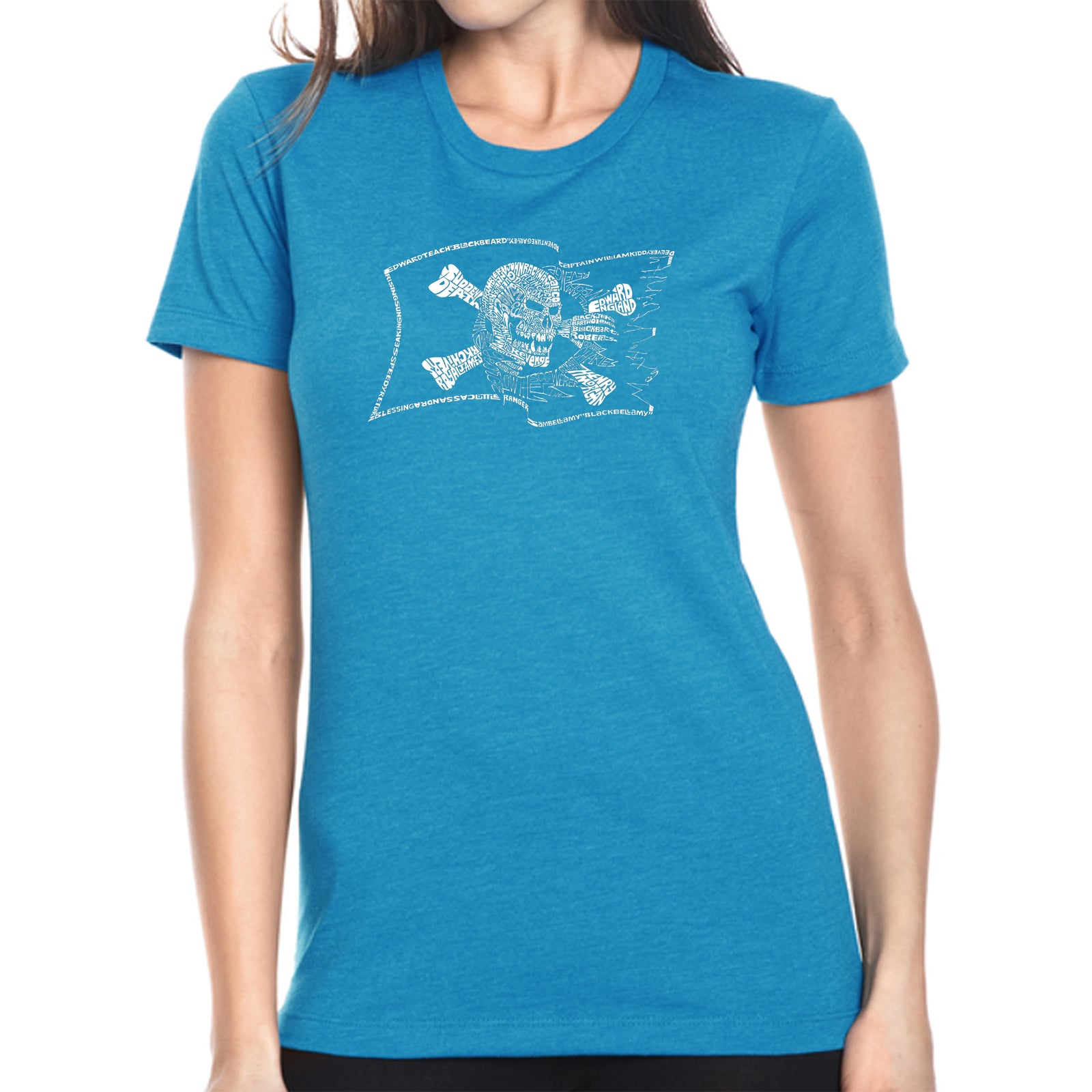 Women's Premium Blend Word Art T-shirt - FAMOUS PIRATE CAPTAINS AND SHIPS