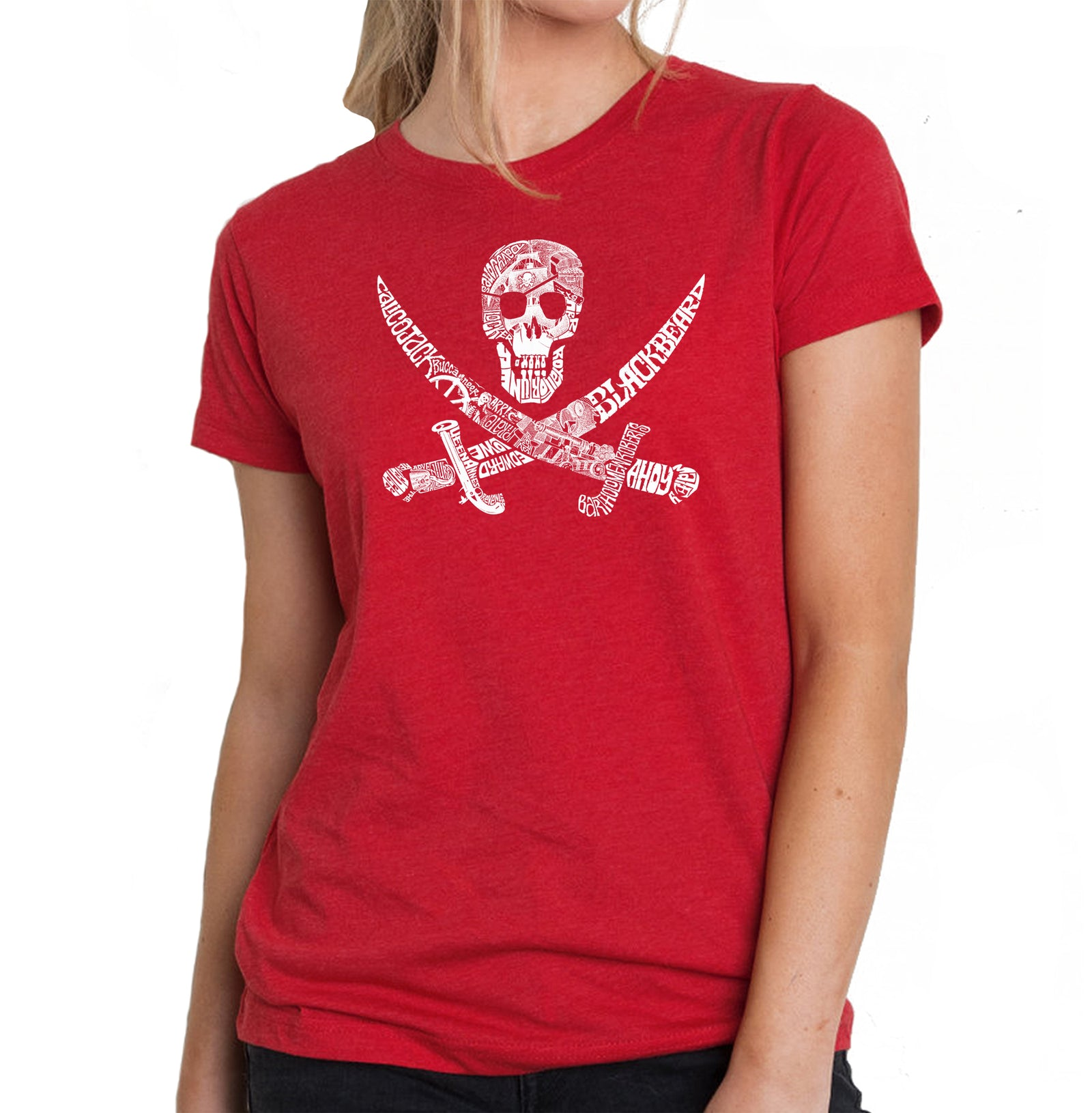 Women's Premium Blend Word Art T-shirt - PIRATE CAPTAINS, SHIPS AND IMAGERY