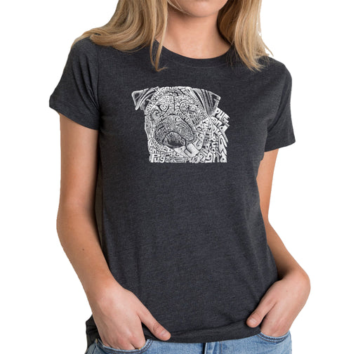 Women's Premium Blend Word Art T-shirt - Pug Face