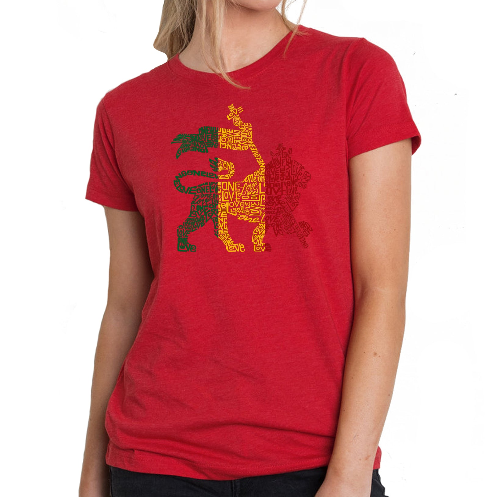 Women's Premium Blend Word Art T-shirt - Rasta Lion - One Love