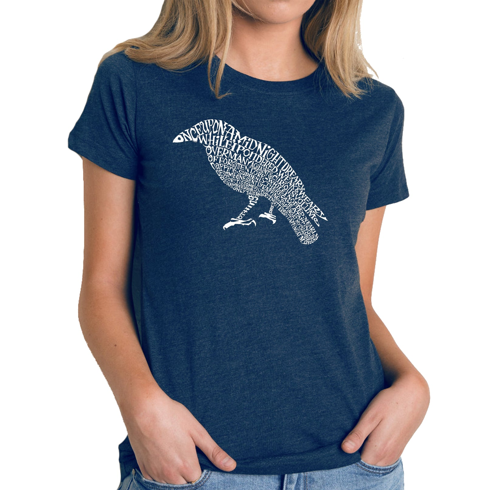 Women's Premium Blend Word Art T-shirt - Edgar Allan Poe's The Raven