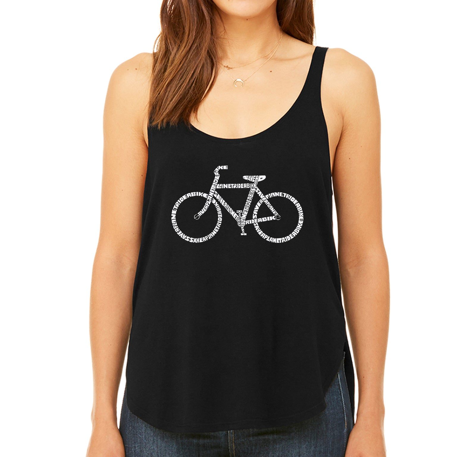 Women's Premium Word Art Flowy Tank Top - SAVE A PLANET, RIDE A BIKE
