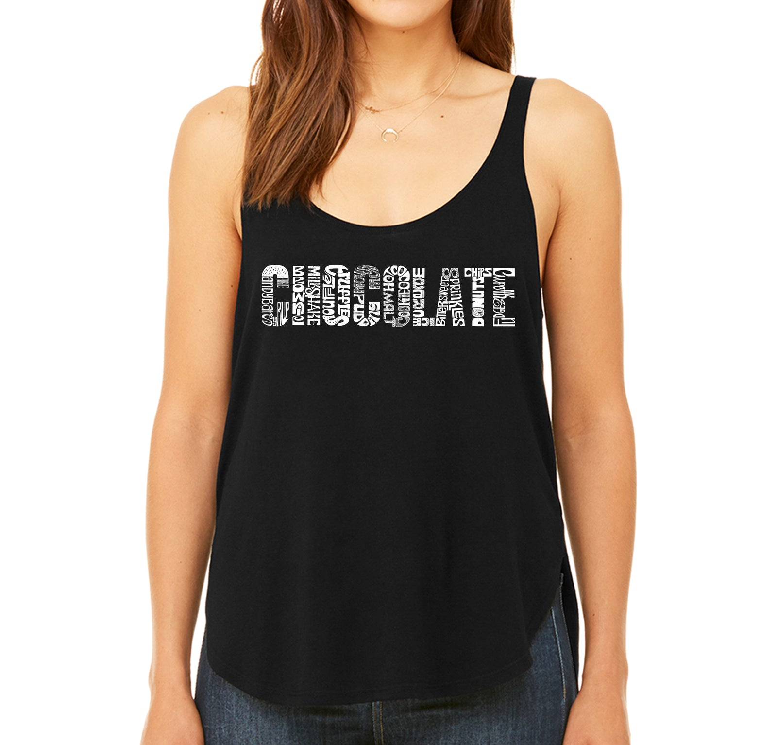Women's Premium Word Art Flowy Tank Top - Different foods made with chocolate