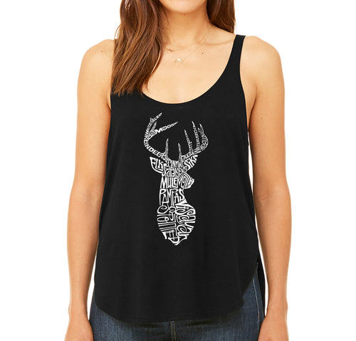 Women's Premium Word Art Flowy Tank Top - Types of Deer