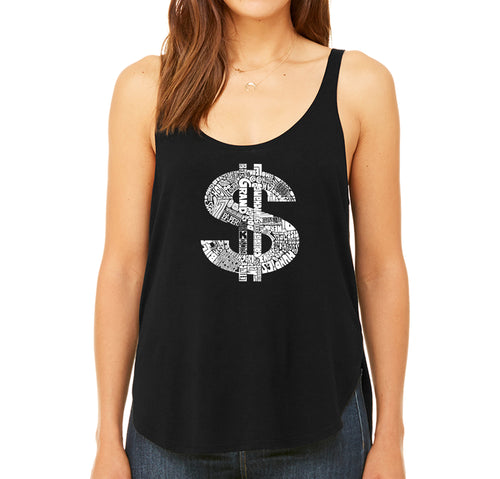 Women's Premium Word Art Flowy Tank Top - Dollar Sign