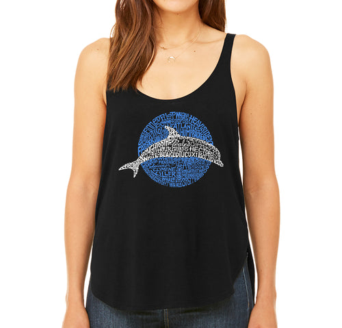 Women's Premium Word Art Flowy Tank Top - Species of Dolphin