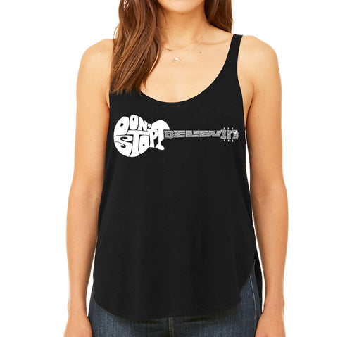 Women's Premium Word Art Flowy Tank Top - Don't Stop Believin'