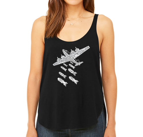 Women's Premium Word Art Flowy Tank Top - DROP BEATS NOT BOMBS