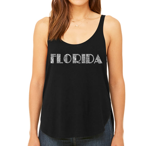 Women's Premium Word Art Flowy Tank Top - POPULAR CITIES IN FLORIDA