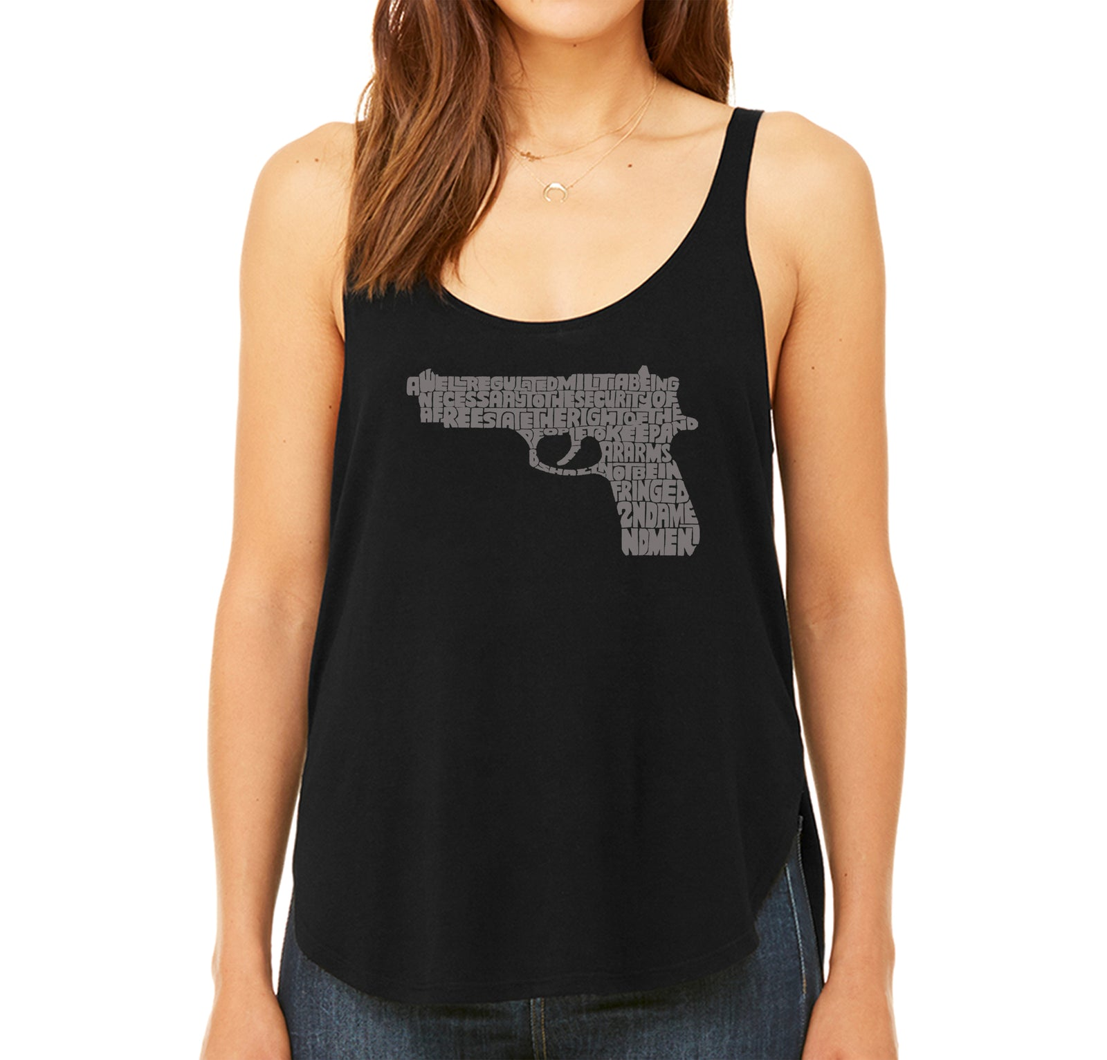 Women's Premium Word Art Flowy Tank Top - RIGHT TO BEAR ARMS
