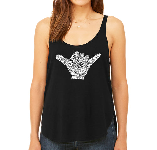 Women's Premium Word Art Flowy Tank Top - TOP WORLDWIDE SURFING SPOTS