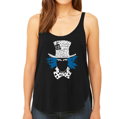 Women's Premium Word Art Flowy Tank Top - The Mad Hatter