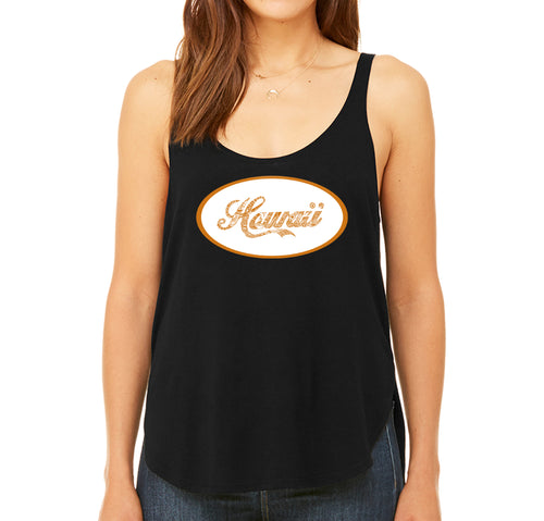 Women's Premium Word Art Flowy Tank Top - HAWAIIAN ISLAND NAMES & IMAGERY