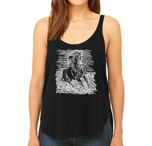 Women's Premium Word Art Flowy Tank Top - POPULAR HORSE BREEDS