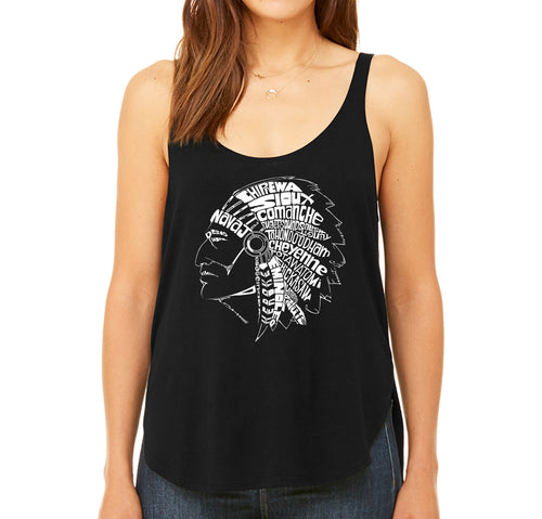 Women's Premium Word Art Flowy Tank Top - POPULAR NATIVE AMERICAN INDIAN TRIBES