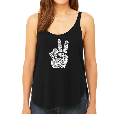 Women's Premium Word Art Flowy Tank Top - PEACE FINGERS