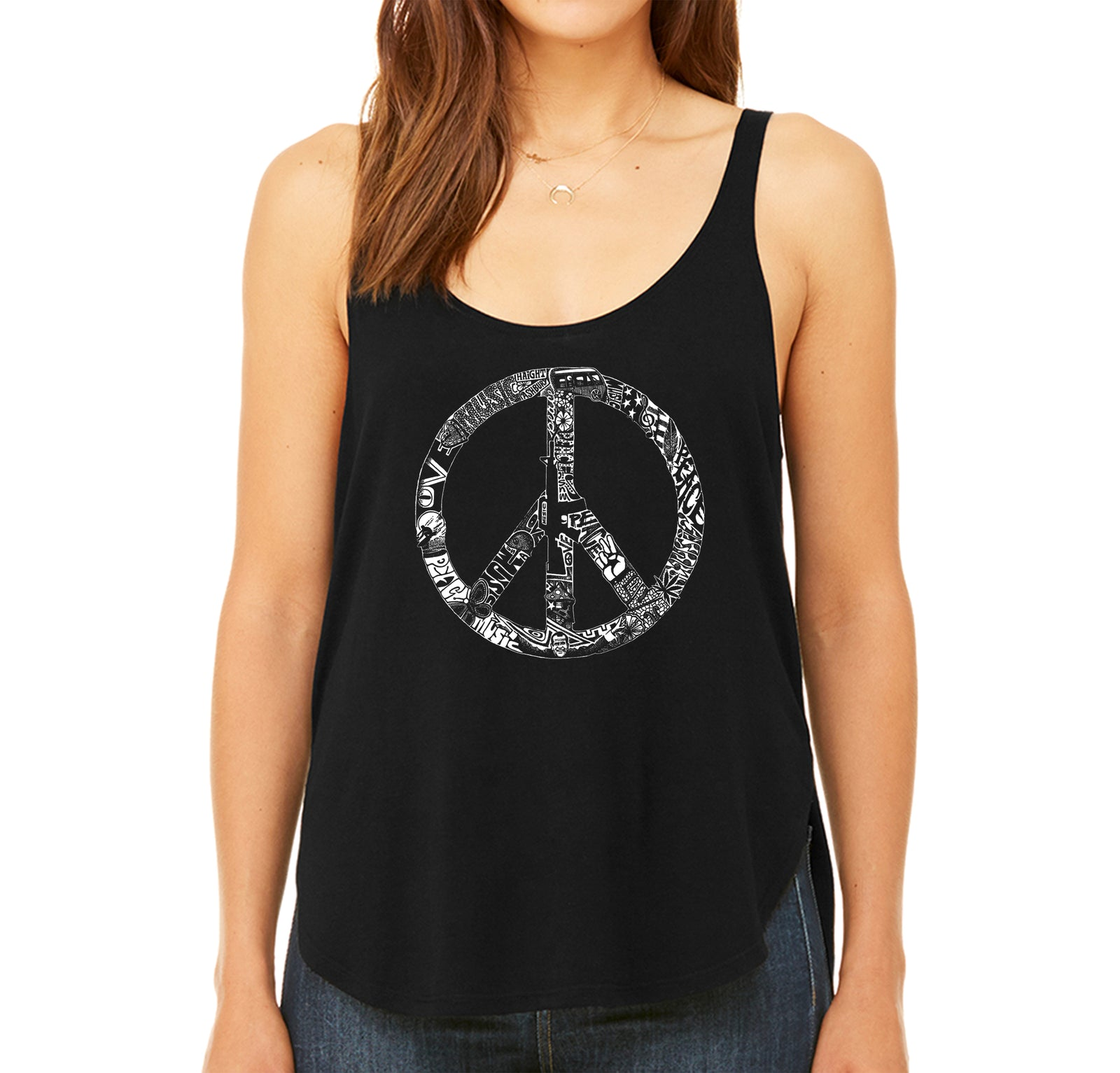 Women's Premium Word Art Flowy Tank Top - PEACE, LOVE, & MUSIC