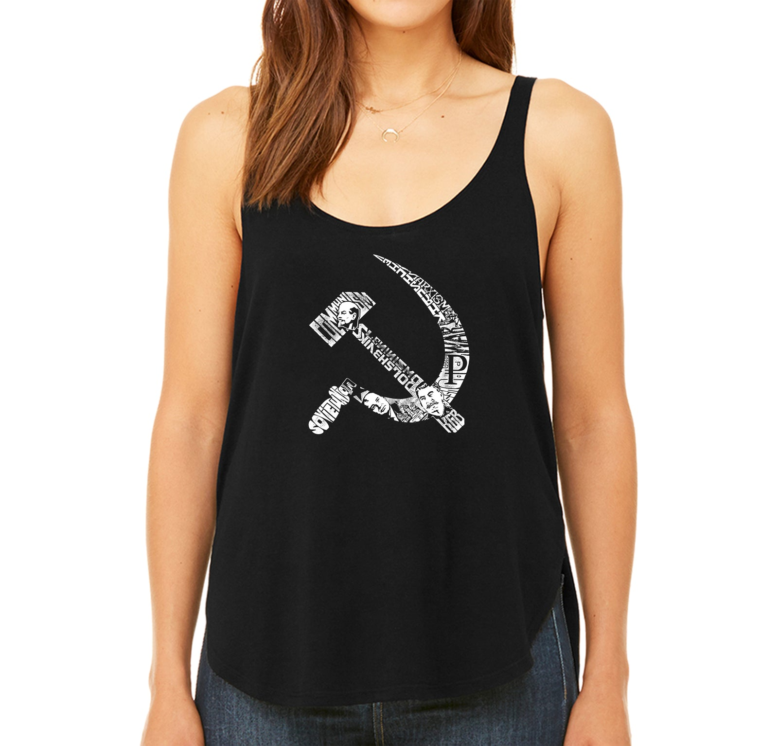 Women's Premium Word Art Flowy Tank Top - SOVIET HAMMER AND SICKLE