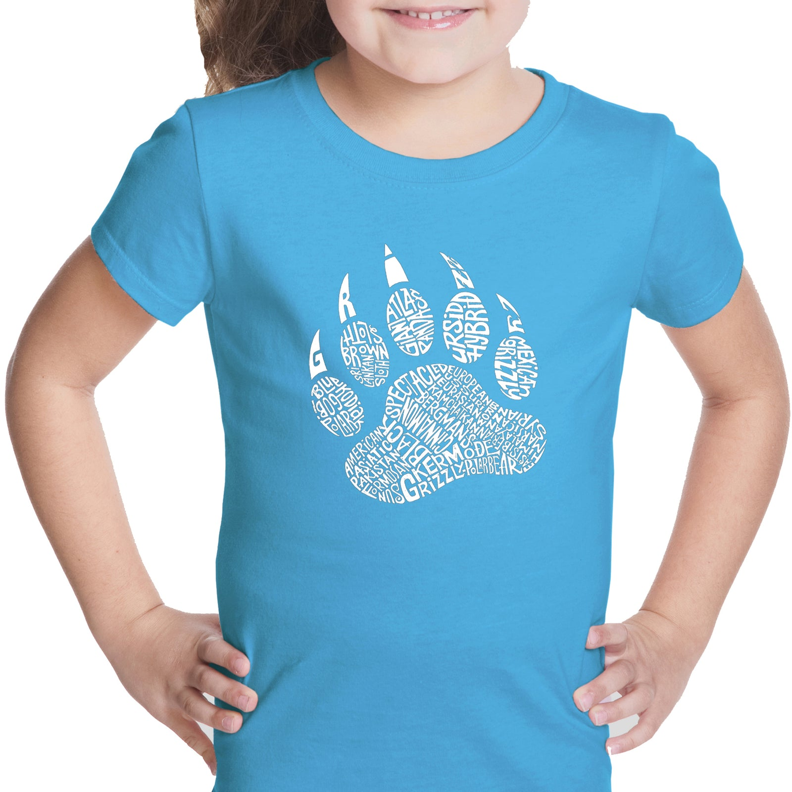 Girl's Word Art T-shirt - Types of Bears