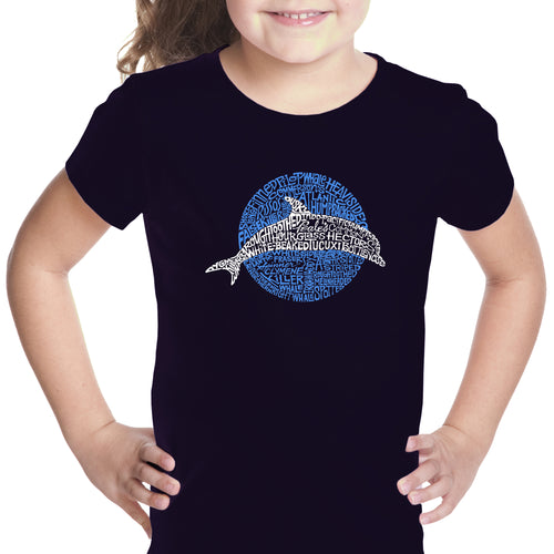 Girl's Word Art T-shirt - Species of Dolphin