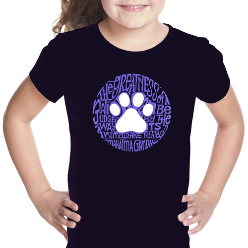 Girl's Word Art T-shirt - Gandhi's Quote on Animal Treatment