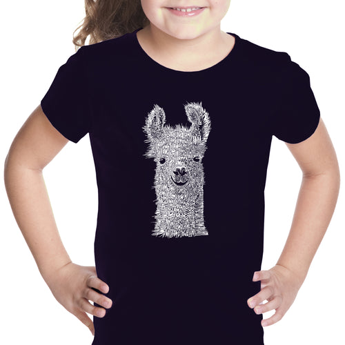 Girl's Word Art T-shirt - Llama