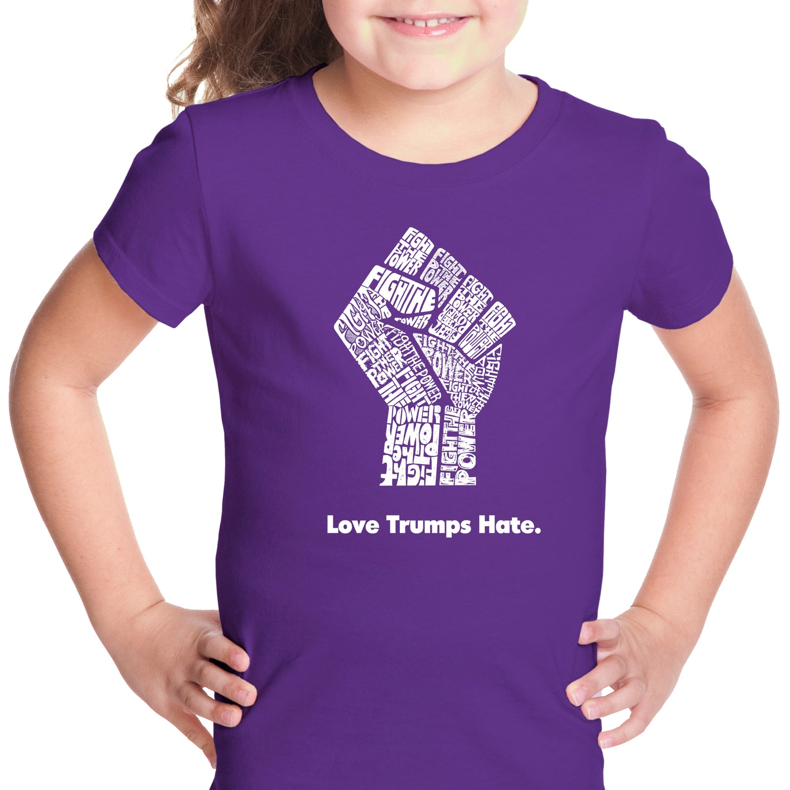 Girl's T-shirt - Love Trumps Hate Fist