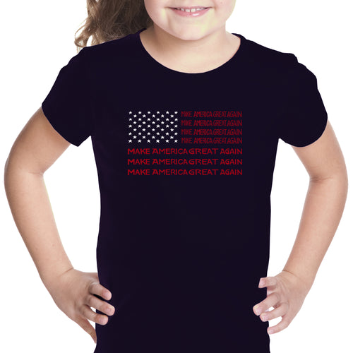 Girl's Word Art T-shirt - Maga Flag