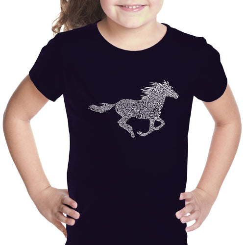 Girl's Word Art T-shirt - Horse Breeds