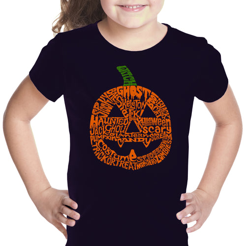 Girl's Word Art T-shirt - Halloween Pumpkin