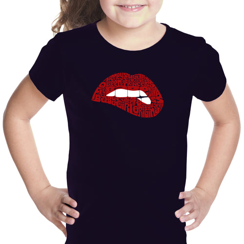 Girl's Word Art T-shirt - Savage Lips