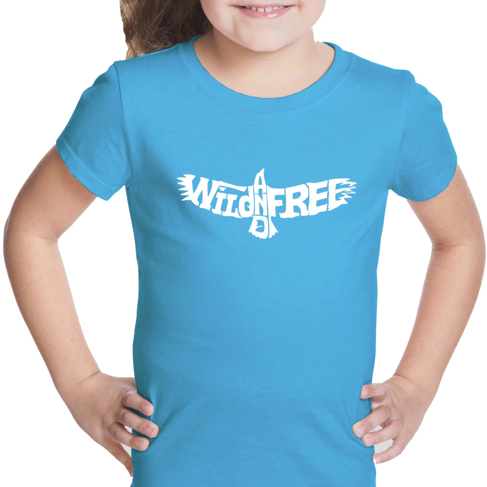 Girl's Word Art T-shirt - Wild and Free Eagle
