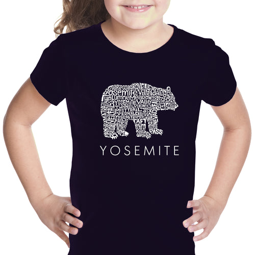 Girl's Word Art T-shirt - Yosemite Bear